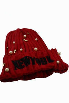 Womens Beaded Letter Patterned Knitted Bonnie Hat Red