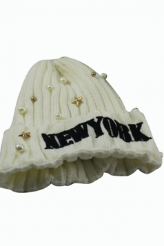 Womens Beaded Letter Patterned Knitted Bonnie Hat White
