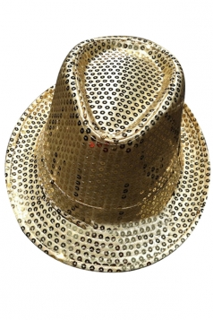 Womens Sequined Magic Performance Hat Gold