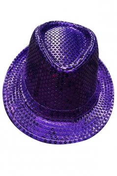 Womens Sequined Magic Performance Hat Purple