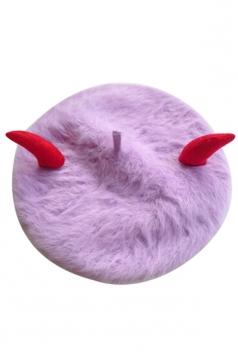 Womens Bull Horn Rabbit Hair Performance Beret Bonnie Hat Purple