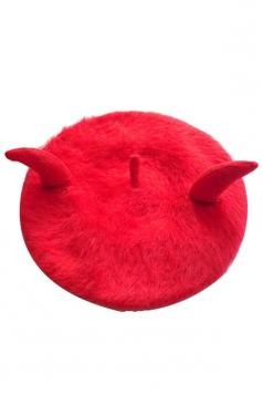 Womens Bull Horn Rabbit Hair Performance Beret Bonnie Hat Red