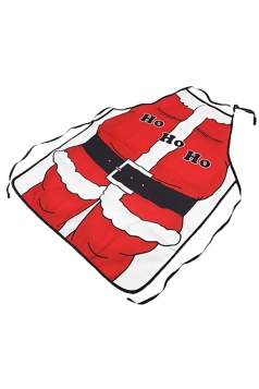 Womens Funny Santa Claus Costume Printed Christmas Apron Red