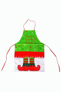 Womens Santa's Little Helper Printed Christmas Apron Green