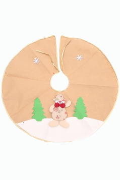 Womens Snowman Applique Christmas Tree Skirt Apricot