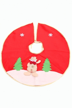 Womens Snowman Applique Christmas Tree Skirt Red
