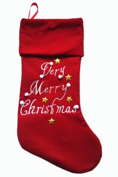 Womens Star Applique Printed Christmas Decoration Stocking Red