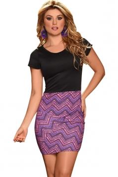 Womens Short Sleeve Exotic Printed Bodycon Dress Purple