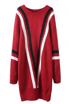 Womens Striped Color Black Long Sleeve Sweater Dress Red