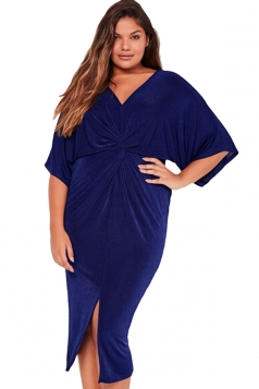 Womens Plus Size Kimono Sleeve Knotted Front Slit Dress Sapphire Blue