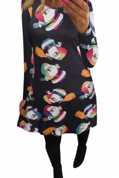Womens Santa Claus Printed Long Sleeve Christmas Dress Black