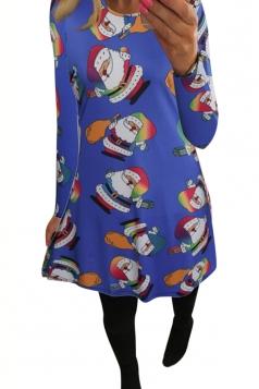 Womens Santa Claus Printed Long Sleeve Christmas Dress Sapphire Blue