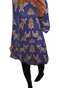 Womens Reindeer Printed Long Sleeve Christmas Dress Blue