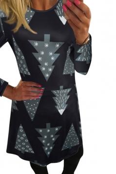 Womens Christmas Tree Printed Long Sleeve Midi Dress Black