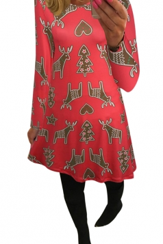 Womens Reindeer Printed Long Sleeve Christmas Dress Watermelon Red