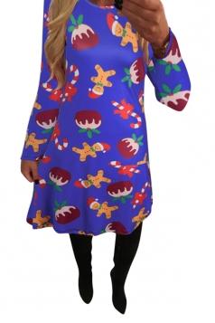Womens Gingerbread Man Print Long Sleeve Christmas Dress Sapphire Blue