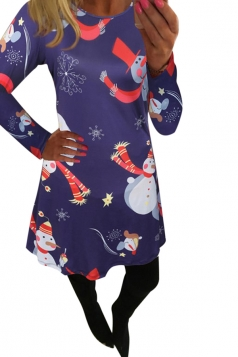 Womens Snowman Printed Long Sleeve Midi Christmas Dress Navy Blue