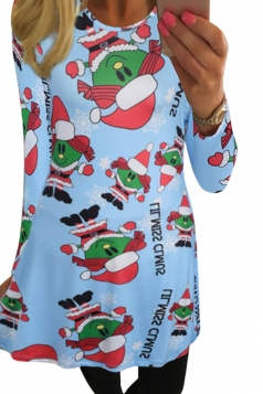 Womens Long Sleeve Santa Girl Printed Christmas Dress Blue