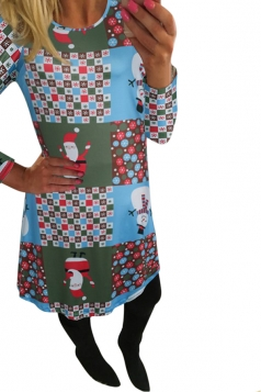 Womens Long Sleeve Santa Claus Printed Christmas Dress Light Blue