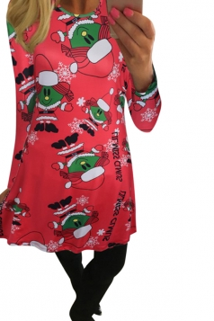 Womens Long Sleeve Santa Girl Printed Christmas Dress Red