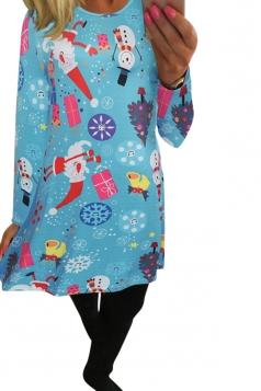 Womens Christmas Accessories Printed Long Sleeve Midi Dress Blue