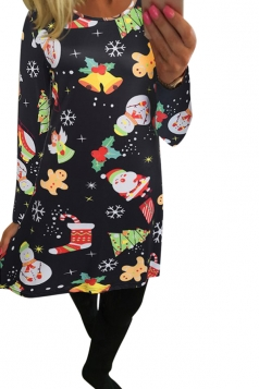Womens Christmas Accessories Printed Long Sleeve Midi Dress Black