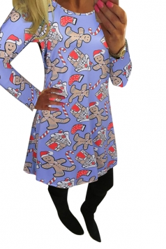 Womens Crewneck Gingerbread Man Printed Christmas Dress Light Purple