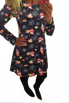 Womens Crewneck Santa Claus Printed Midi Christmas Dress Black