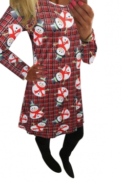 Womens Crewneck Plaid Snowman Printed Midi Christmas Dress Dark Red