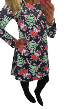 Womens Crewneck Christmas Tree and Elf Printed Midi Dress Green
