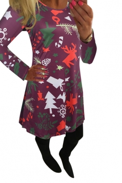 Womens Crewneck Christmas Tree and Deer Printed Midi Dress Purple