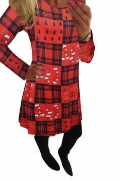 Womens Crewneck Christmas Hat Printed Midi Dress Red