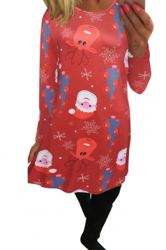 Womens Crewneck Santa Claus Print Midi Christmas Dress Watermelon Red