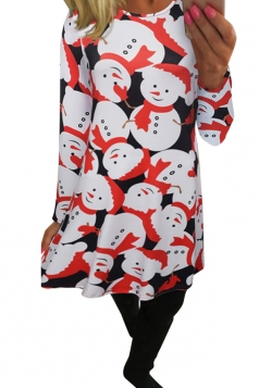 Womens Christmas Snowman Printed Midi Long Sleeve Dress White