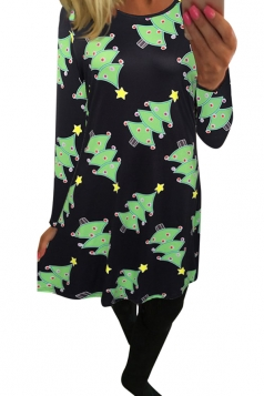 Womens Christmas Tree Printed Midi Long Sleeve Dress Green