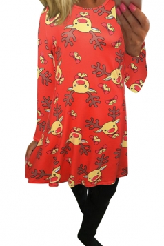 Womens Cartoon Christmas Reindeer Printed Long Sleeve Dress Tangerine