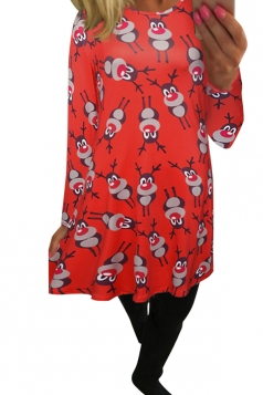 Womens Cartoon Christmas Reindeer Printed Midi Long Sleeve Dress Red