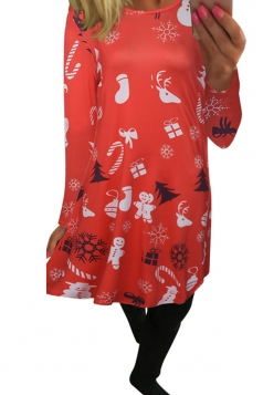 Womens Christmas Accessory Printed Long Sleeve Dress Watermelon Red