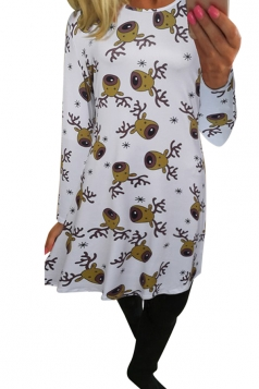 Womens Christmas Reindeer Printed Midi Long Sleeve Dress Brown