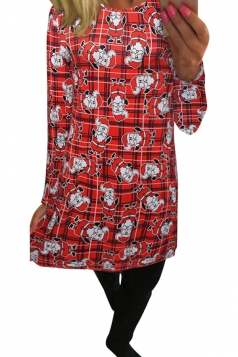 Womens Plaid Santa Claus Printed Midi Long Sleeve Christmas Dress Ruby