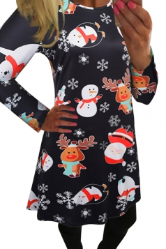 Womens Christmas Snowman and Reindeer Printed Midi Dress Black