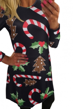 Womens Candy Cane Printed Long Sleeve Christmas Dress Black