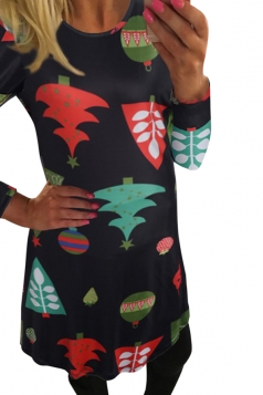 Womens Christmas Tree Printed Crewneck Long Sleeve Dress Black