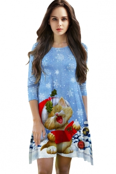 Womens Cute Christmas Cat Printed 3/4 Length Sleeve Dress Blue