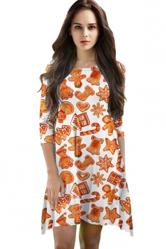 Womens Christmas Cookie Printed 3/4 Length Sleeve Dress Orange