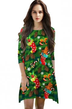 Womens Christmas Stocking Printed 3/4 Length Sleeve Dress Green