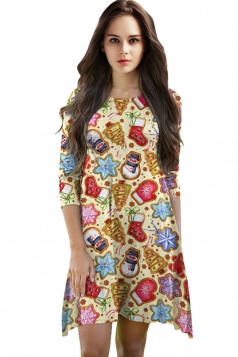 Womens Christmas Accessory Printed 3/4 Length Sleeve Dress Yellow