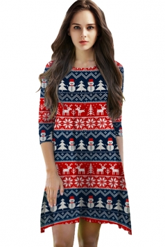 Womens Christmas Snowflake Printed 3/4 Length Sleeve Dress Red