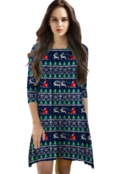 Womens Christmas Theme Printed 3/4 Length Sleeve Dress Navy Blue