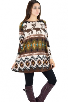 Womens Crewneck Reindeer Patterned Long Sleeve Christmas Dress Brown